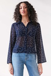 Lucca Couture Starry Night Tie Back Blouse Navy
