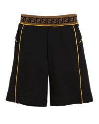 Fendi Contrast Piping Shorts W Ff Waistband Size 4 14 Black