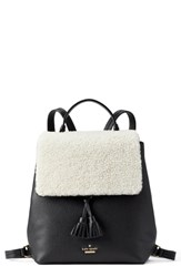 Kate Spade New York Hayes Street Teba Genuine Shearling And Leather Backpack Black Cement