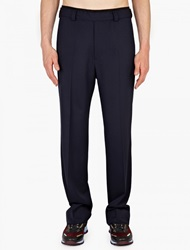 Valentino Navy Wide Leg Wool Trousers