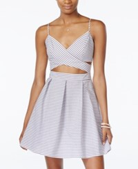 City Triangles City Studios Juniors' Cutout Striped Fit And Flare Dress Grey White