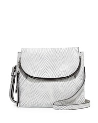 Charles Jourdan Wilson Snake Embossed Leather Crossbody Bag White