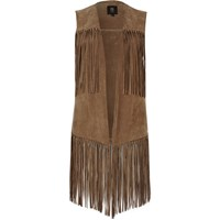 River Island Womens Light Brown Suede Fringe Gilet