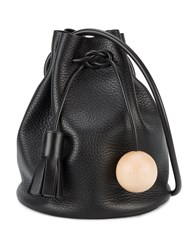 Building Block Mini Bucket Shoulder Bag Women Wood Leather One Size Black