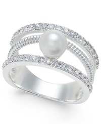 Charter Club Silver Tone Crystal Imitation Pearl Ring Only At Macy's