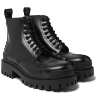 Balenciaga Strike Leather Boots Black