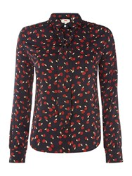 Levi's Long Sleeve Apple Print Bow Neck Blouse Navy