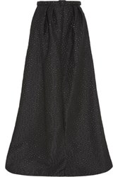 Jenny Packham Embroidered Metallic Gabardine Maxi Skirt Black