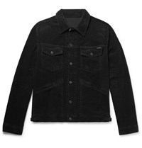 Tom Ford Washed Cotton Blend Corduroy Trucker Jacket Black