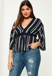 Missguided Plus Size Navy Striped Plunge Tie Waist Blouse
