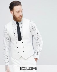 Noose And Monkey Super Skinny Suit Vest White