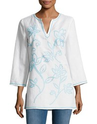 Context Floral Embroidered Tunic White