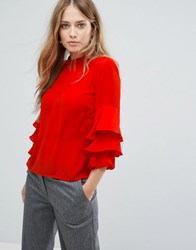 Warehouse Tiered Sleeve Top Red