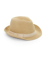 Saks Fifth Avenue Woven Fedora Natural