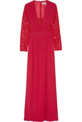 Alice By Temperley Macey Lace Paneled Pleated Crepe Maxi Dress Red