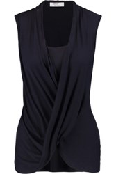 Bailey 44 Paparazzi Draped Stretch Jersey Top Midnight Blue