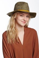 David And Young Faux Suede Panama Hat Green