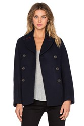 Marc By Marc Jacobs Norman Bonded Wool Coat Navy