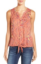 Women's Lucky Brand Print Sleeveless Woven Tie Front Shirt Red Multi