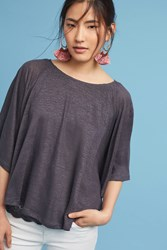 Anthropologie Lace And Linen Cape Top Dark Grey