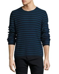 Vince Reverse Stripe Crewneck Sweater Navy