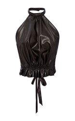 Rodarte Black Leather Halter Top