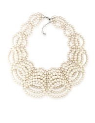 Carolee 6Mm White Round Faux Pearl Collar Necklace