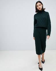 Selected Knit Pencil Skirt Green