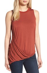 Trouve Women's Asymmetrical Drape Knit Top Rust Henna