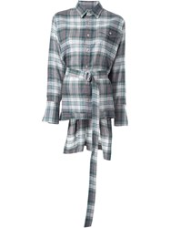 Fad Three Long Tail Checked Shirt Green