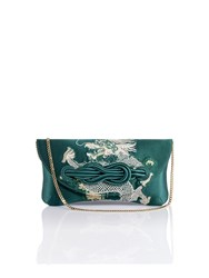 Shanghai Tang Dragon Embroidery Silk Knot Clutch Dark Green