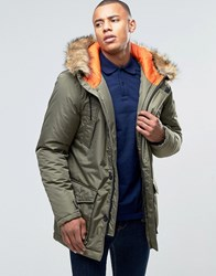 D Struct Faux Fur Trimmed Parka Jacket Green