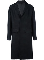 Les Hommes Jacquard Single Breasted Coat Black