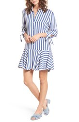 One Clothing Drop Waist Shirtdress Blue White