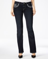Earl Jeans Project Indigo Juniors' Embellished Bling Bootcut Dark Wash