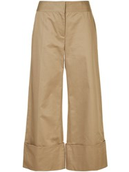 Monse Wide Leg Cropped Trousers Brown