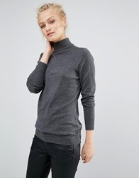 Warehouse Roll Neck Top Charcoal Marl Grey