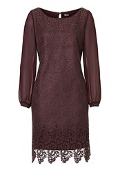 Vera Mont Web Effect Lace Dress Purple