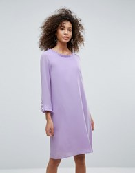 Traffic People Long Sleeve Shift Dress With Frill Detail Lilac Purple