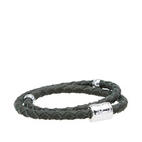 Miansai Silver Casing Leather Bracelet Green
