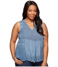Lucky Brand Plus Size Washed Woven Mixed Shell Moonlight Ocean Women's Sleeveless Blue