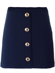 Love Moschino Buttoned Front Quilted Skirt Blue