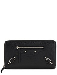Balenciaga Classic Leather Zip Around Wallet Black
