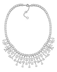Ralph Lauren Statement Bib Necklace 16 Crystal Silver