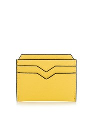Valextra Grained Leather Cardholder Yellow
