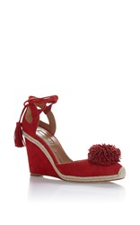 Aquazzura Sunshine Wedged Espadrille Red