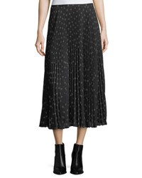 Vince Ditsy Floral Pleated Maxi Skirt Black