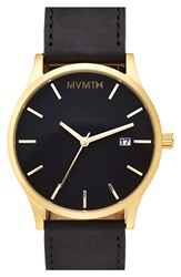 Mvmt Leather Strap Watch 40Mm Gold Black
