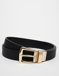 Asos Smart Belt In Black Faux Leather With Shiny Gold Buckle