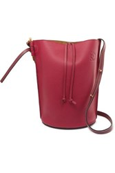 Loewe Gate Textured Leather Bucket Bag Burgundy